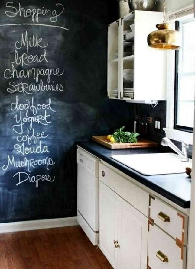 Add a chalkboard wall to your kitchen to stay organized.