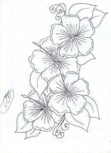 Hibiscus Template Hawaiian Flower Tattoos Hibiscus Flower Tattoos Flower Drawing