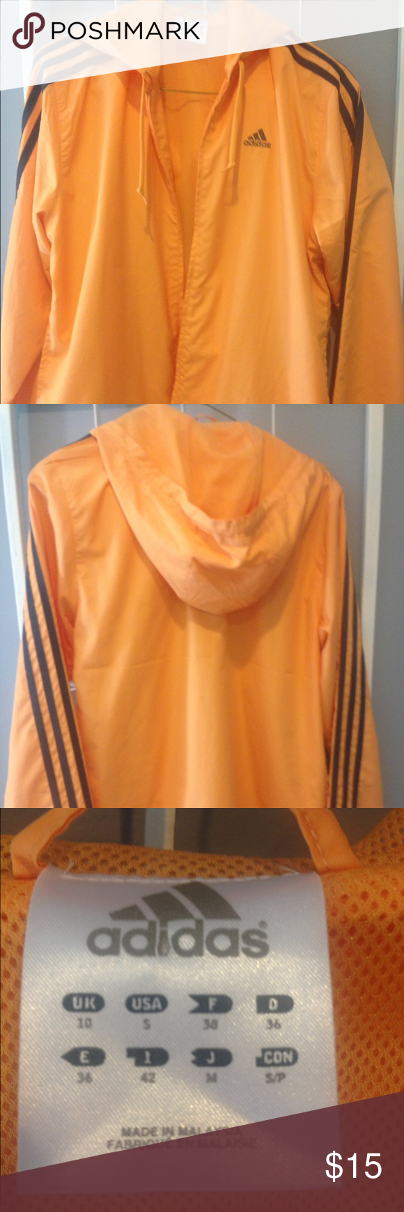 Adidas hooded zip front jacket size S Hooded, front zip Adidas jacket in a peachy orange color with dark blue striping. In EUC with no stains or rips. Adidas Tops Sweatshirts & Hoodies