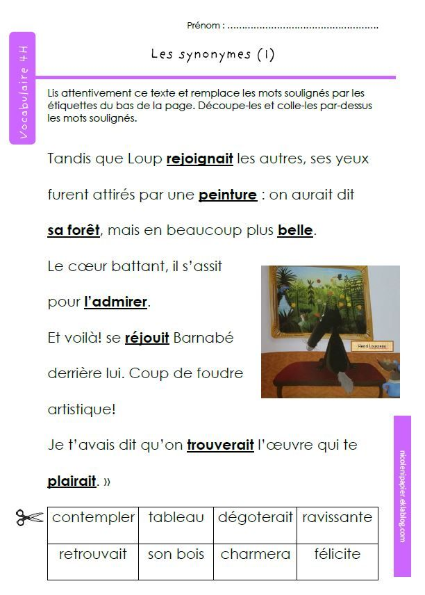 les synonymes (avec images) | Synonymes, Vocabulaire, Orpheecole