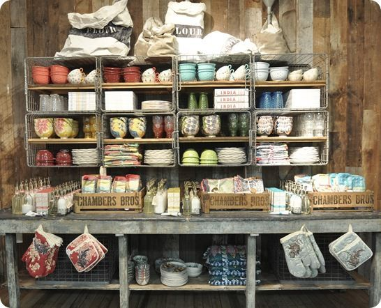 Rustic Merchandise Display Ideas | love this Anthropologie display