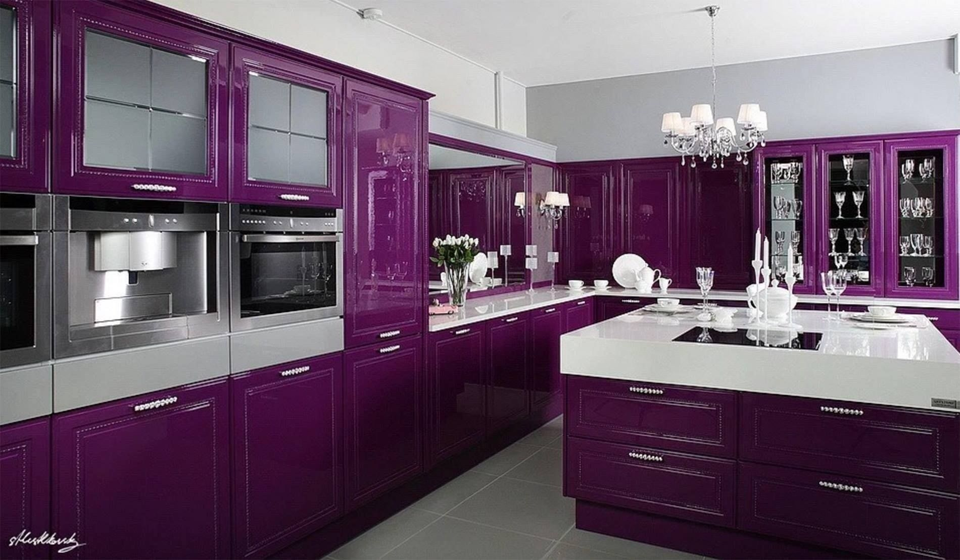 22 Cheap And Lovely Kitchens Design Decor Ideas Purple Kitchen Cabinets Purple Kitchen Purple Cabinets