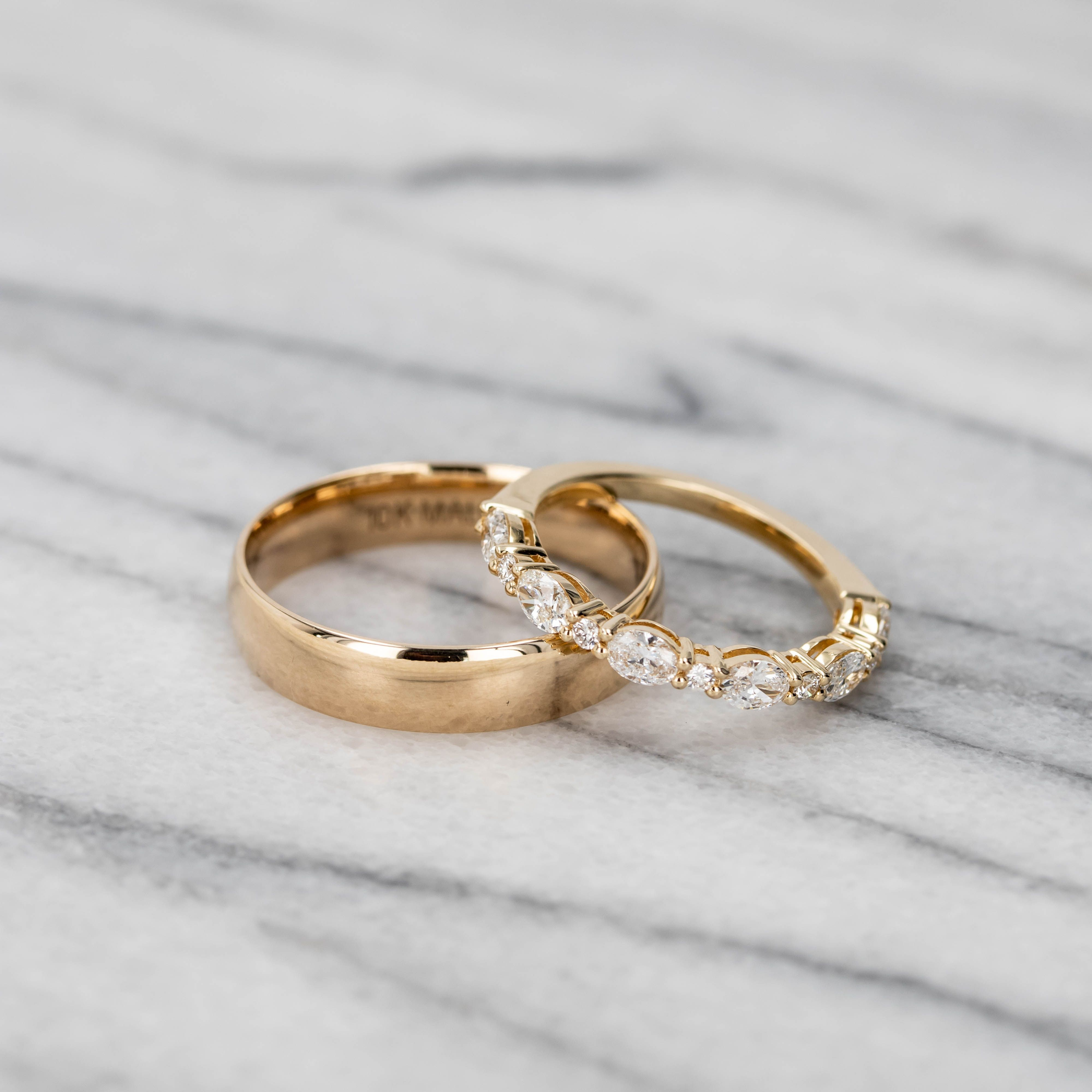 These Yellow Gold Wedding Bands Will Be A Lifelong Essential Tag Your Love If You Agre Matching Wedding Bands Gold Couple Wedding Rings Gold Wedding Band Sets