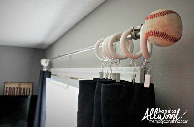 Baseball Curtain Finials Drilled A Pilot Hole Into A Baseball And