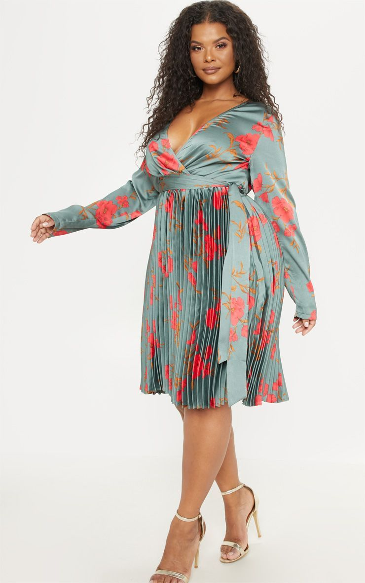 Plus Emerald Green Floral Print Long Sleeve Pleated Midi Dress Pleated Midi Dress Wedding Guest Outfit Fall Casual Wedding Guest Dresses [ 1180 x 740 Pixel ]