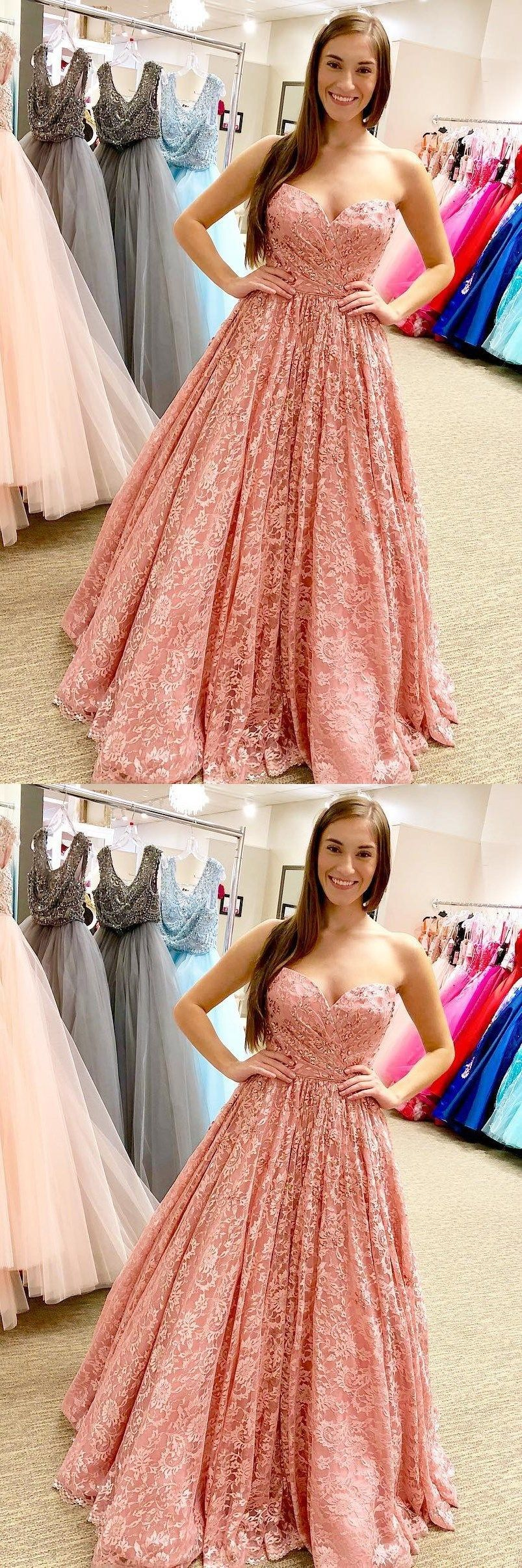 Peach lace beaded sweetheart aline cheap evening prom dresses