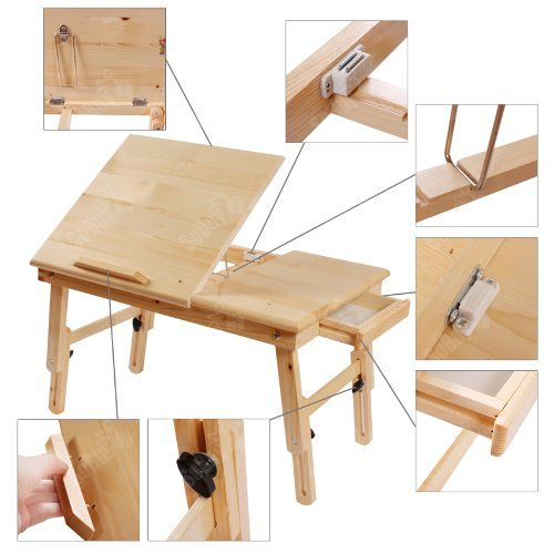 Solid Wood Foldable Notebook Laptop Table, Adjustable Height U0026 Angle Folding  Food Bed Lap Top