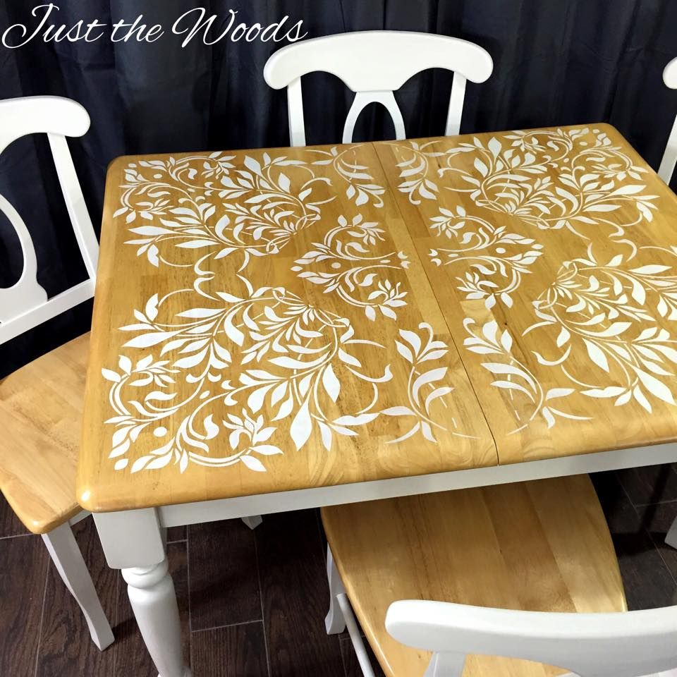 Darling Damask Stenciled Dining Set by Just the Woods | Bricolaje ...