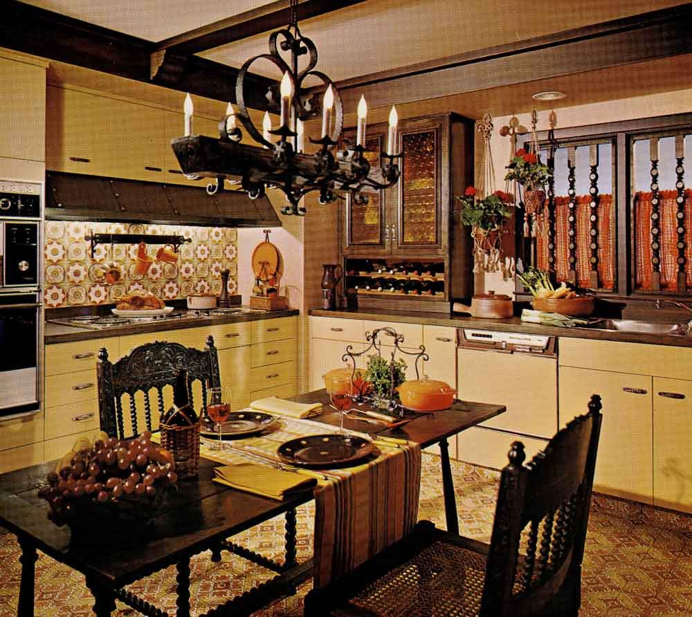 One Harvest Gold Kitchen Decorated
