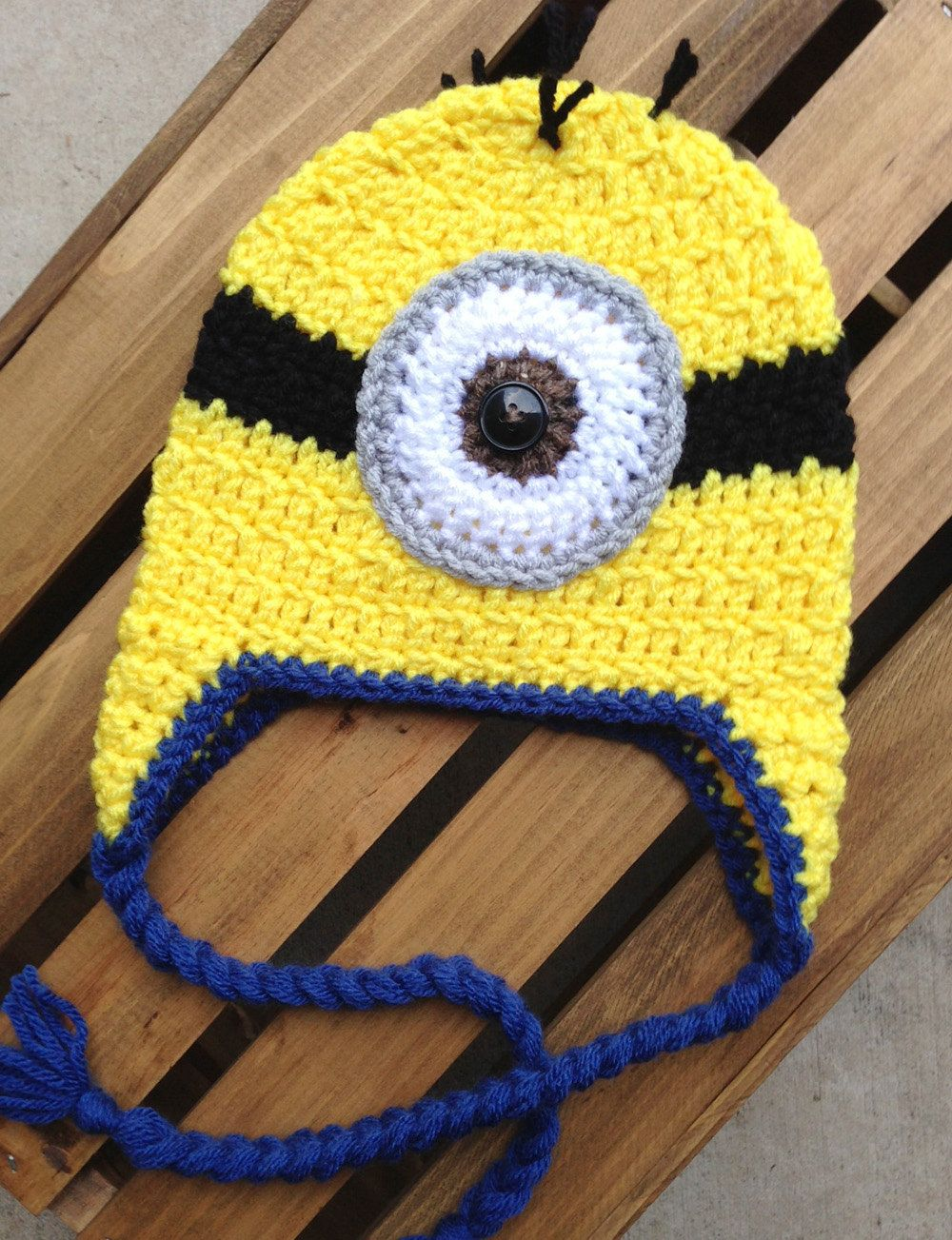 Despicable Me Minion Crochet Hat Beanie with Earflaps and Braids ...