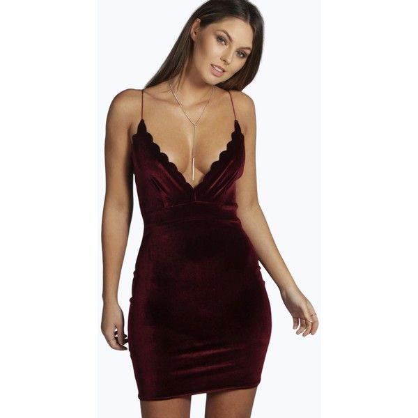 d8550597c677 Boohoo Night Hannah Velvet Scallop Edge Bodycon Dress ($30) ❤ liked on Polyvore  featuring dresses, berry, scallop hem dress, scalloped dress, ...