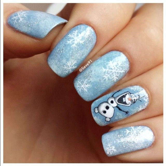 frozen nails a quirky little tribute to olaf - Disney Christmas Nails