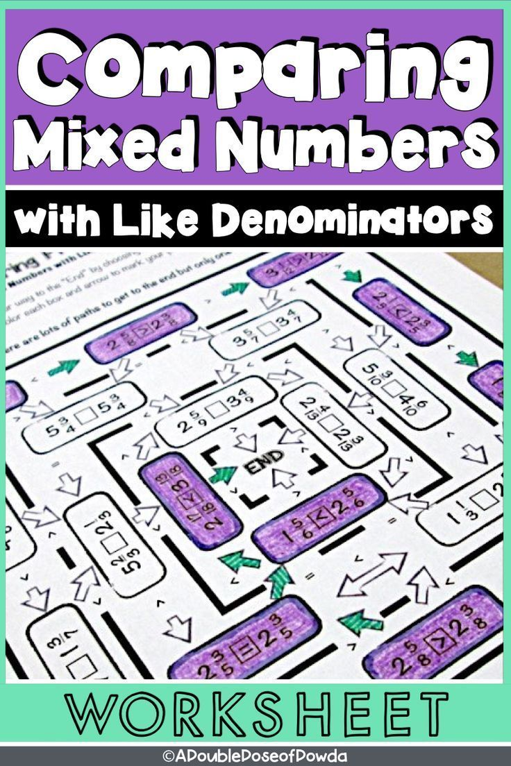 Comparing Mixed Numbers with Like Denominators Worksheet