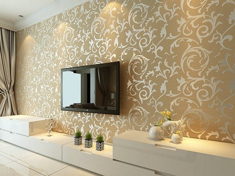 Luxury Grey Silver Leaf 3d Steroscopic Wallpaper For Walls Roll Gold Epicworldstor Modern Wallpaper Living Room Ceiling Design Living Room Drawing Room Decor