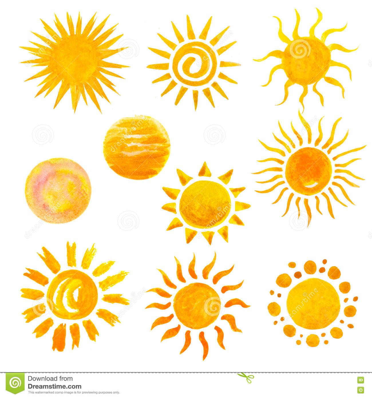 Illustration About Set Of Watercolor Sun Icons Isolated On White