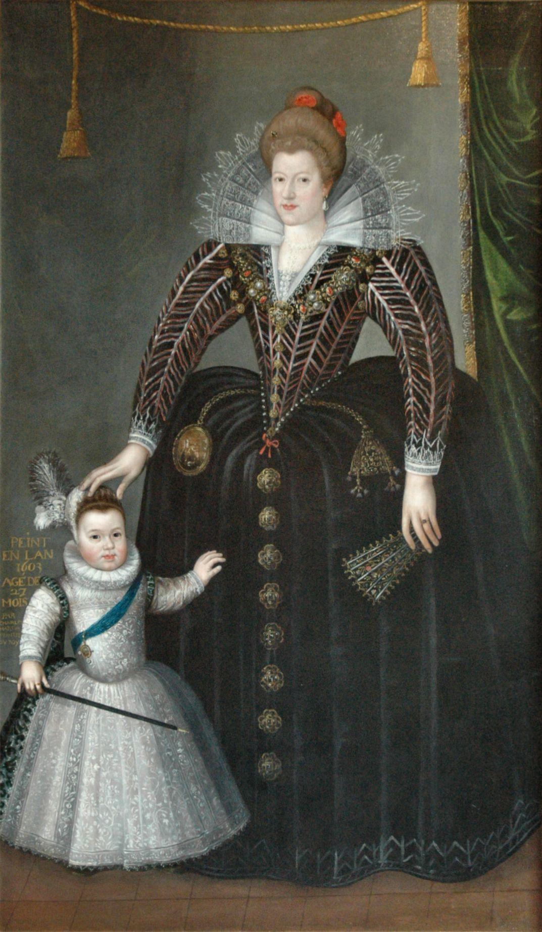 1603 Maria de' Medici and her son Louis XIII by Charles Martin (Musée des Beaux-arts, Blois - Blois, Centre region, France) Wm