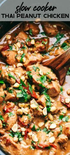 Slow Cooker Thai Peanut Chicken #slowcookerchicken