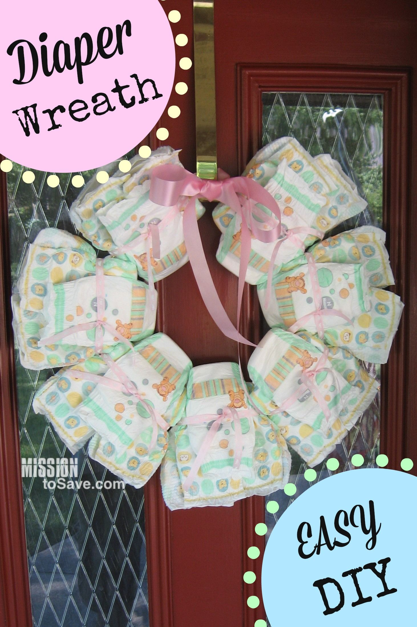When my 21 year old niece was born, someone gave my sister a DIY Diaper Wreath. It is such a cute and practical gift. And I have been creating these wreaths to welcome baby(s) home ever since. You will not believe how easy they are to make! Supplies: Diapers (to get the stacked look buy a bag of Newborns and a bag of size 1) Ribbon Metal macrame ring (12 in or larger) Wreath hanger Instructions: Lay ring down on  {Read More}