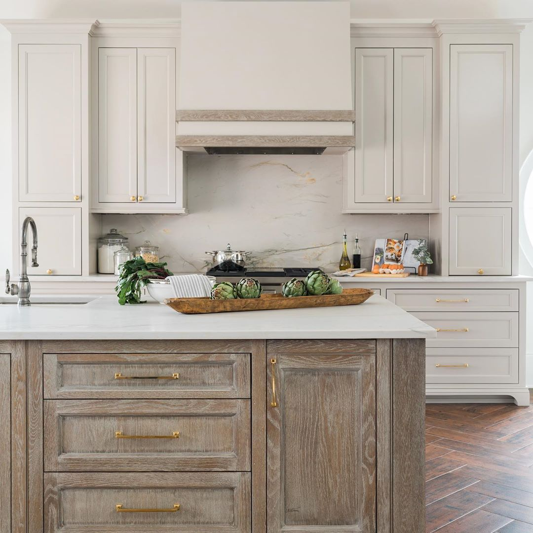 The Designery On Instagram Taupe Cerused White Oak Quartzite And Unlaquered Brass Ingredients For El In 2020 White Oak Kitchen Kitchen Design Cerused Oak Cabinets