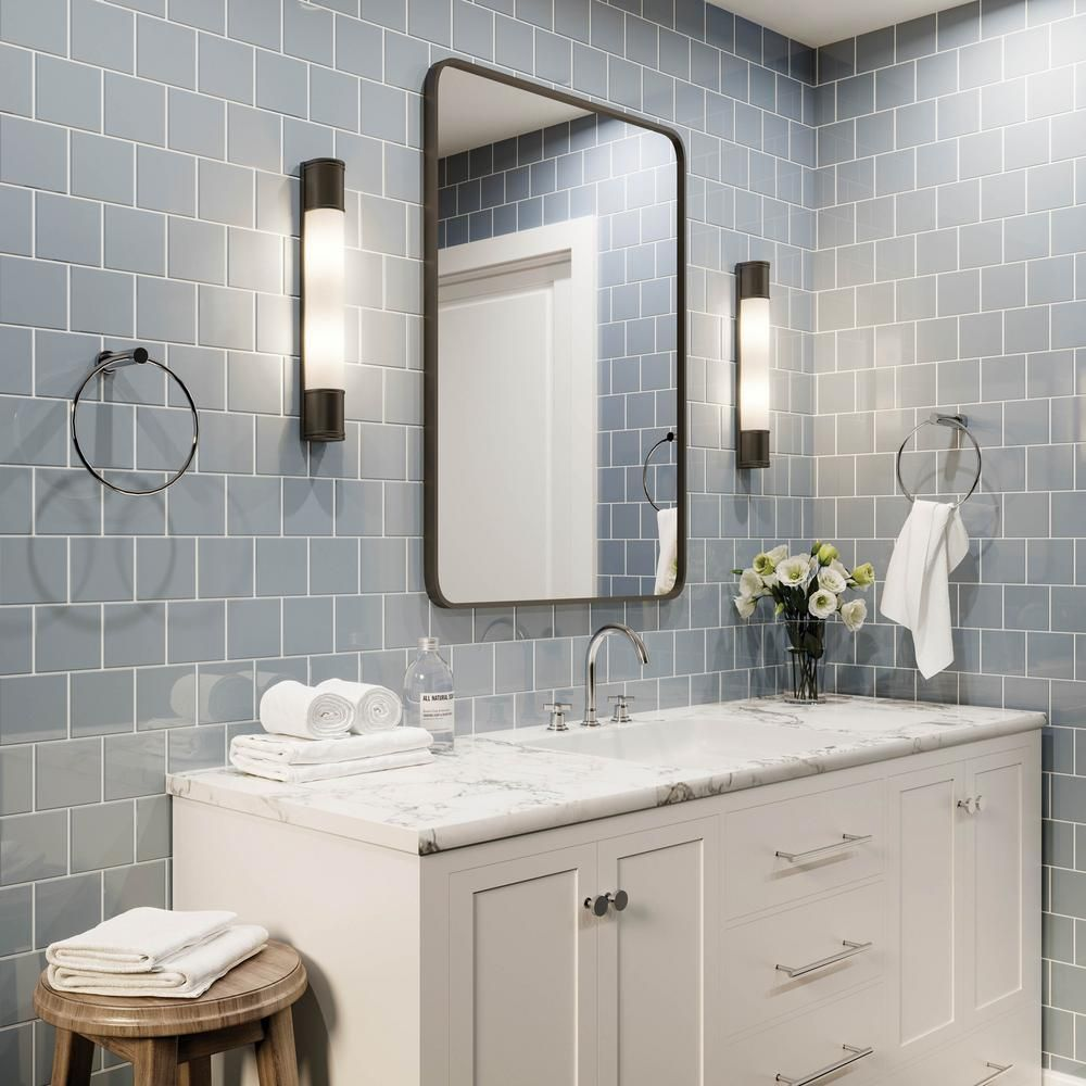 Daltile Restore Tide Blue 4 1 4 In X 4 1 4 In Glazed Ceramic Wall Tile 12 5 Sq Ft Case In 2020 Grey Bathroom Wall Tiles Bathroom Wall Tile Gray Bathroom Walls