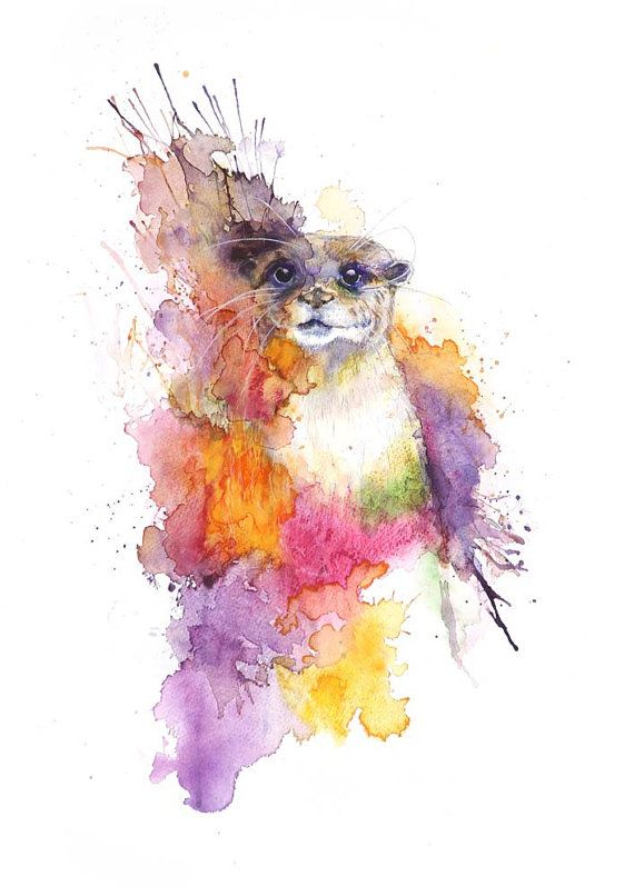 Colorful Wolf watercolor art tote bag featuring art by Ellen Brenneman