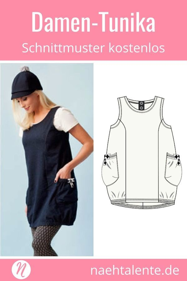 Damen-Tunika Gratis Schnittmuster ❤ Gr. XS - XL ❤ PDF zum ...