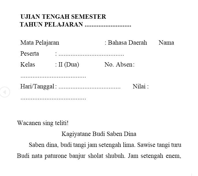 Soal Kelas 2 Semester 2 Bahasa Jawa Bahasa Belajar Buku Tulis