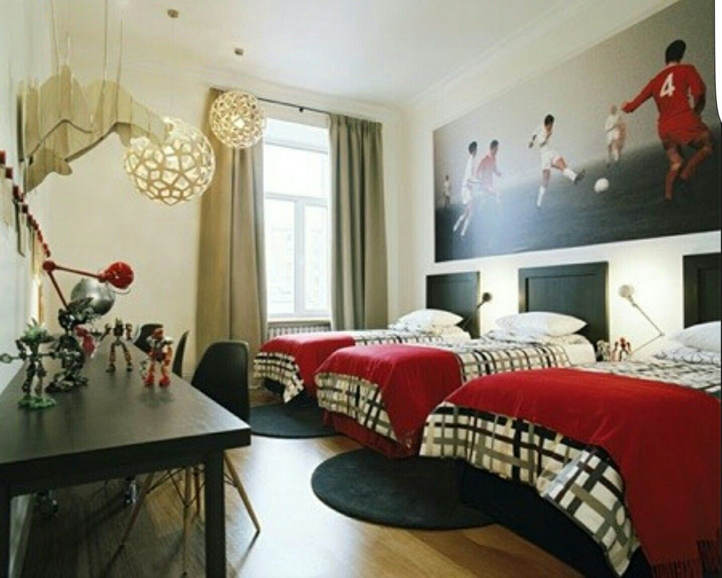 Black plaid and red shared boy room | Office Space | Pinterest