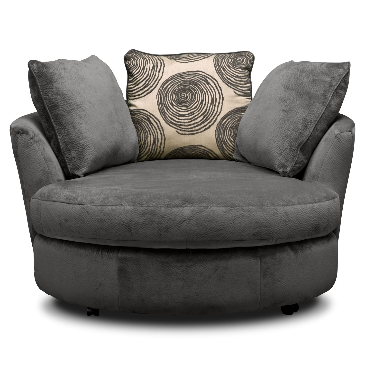 Cordoba Gray Upholstery Swivel Chair Value City Furniture Lounge Chair Bedroom Round Swivel Chair Swivel Chair