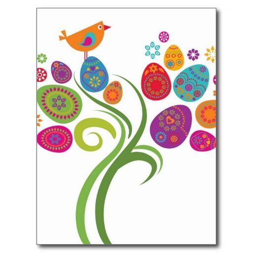 Easter tree with colored eggs and flowers post cards
