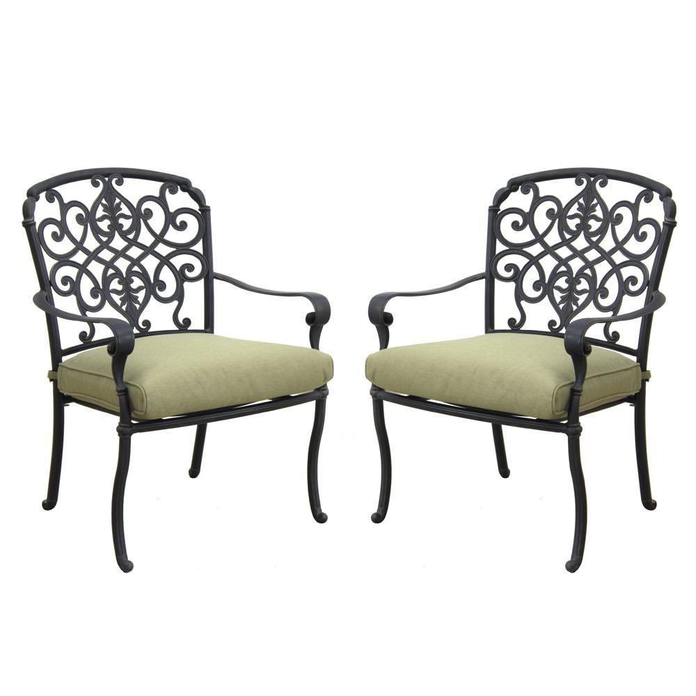 Hampton Bay Edington Cast Back Pair Of Patio Dining Chairs With