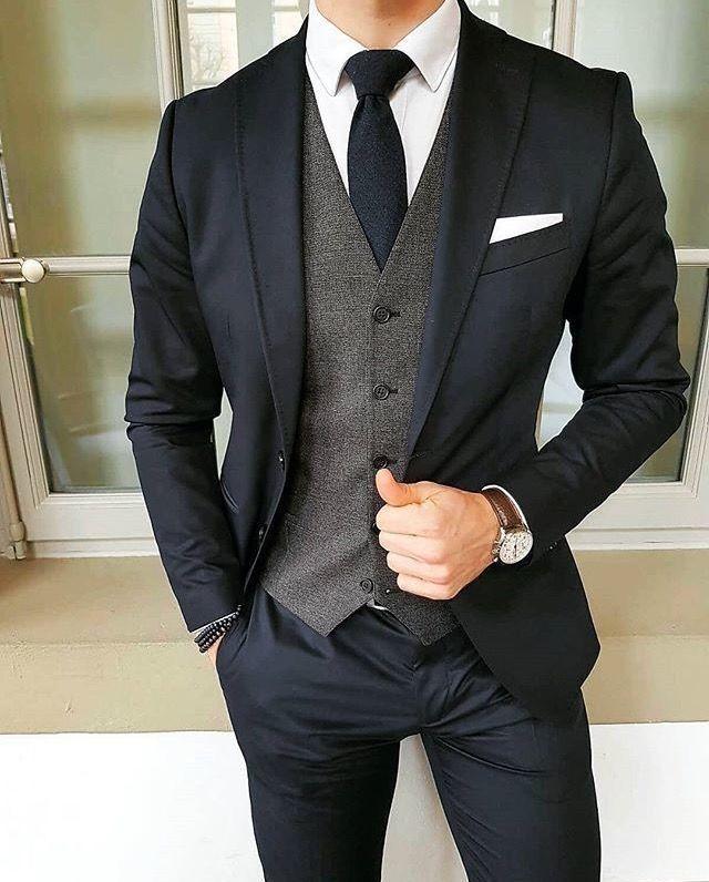Outfit dunkelblau-grau Bräutigam Hochzeit
