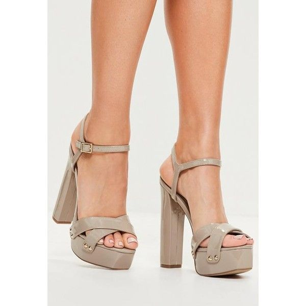 Womens One Strap Block Heels Sandals Pu Leather Pointed Casual Party Nude Shoes