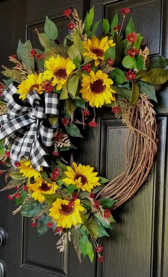Photo of Wreaths for front door, sunflower wreath, autumn wreath for front door, autumn wreath …