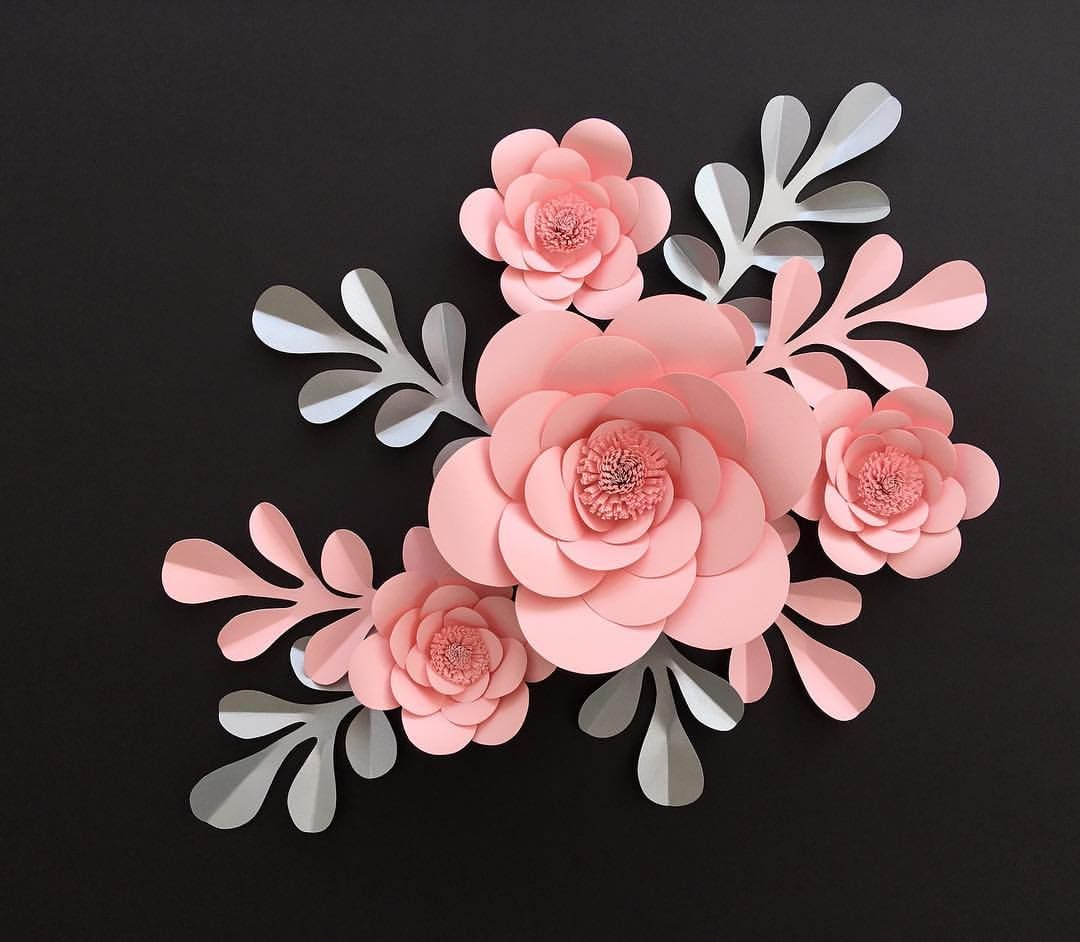 Blush And Frosted Silver Custom Paper Flower Display Paper Flowers