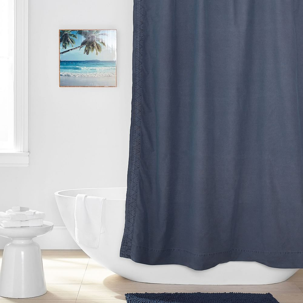 Washed Canvas Shower Curtain In 2020 Shower Remodel Small