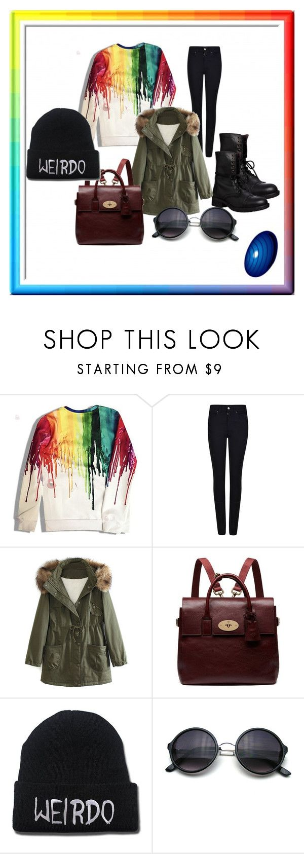 Dark and Rainbow by teodora-hristova on Polyvore featuring WithChic, Armani Jeans, Steve Madden, Mulberry, women's clothing, women's fashion, women, female, woman and misses