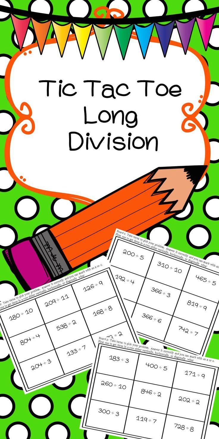 Long Division Tic Tac Toe   Long division, Tic tac toe and Division
