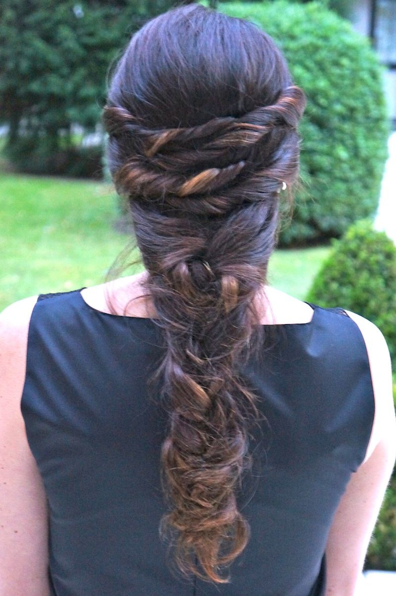 Messy ropelike braid lovely updos and formal styles