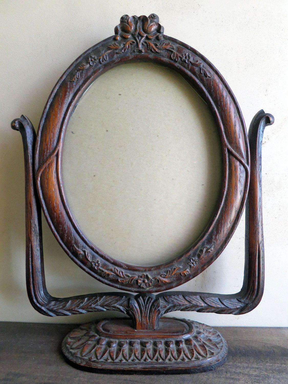 Carved Oaktabletop Frame Swivel Pedestal Oval Frame Tilt
