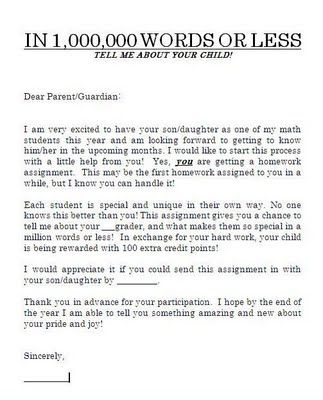 Million Words or Less Parent assignment for getting to know your - assignment letter