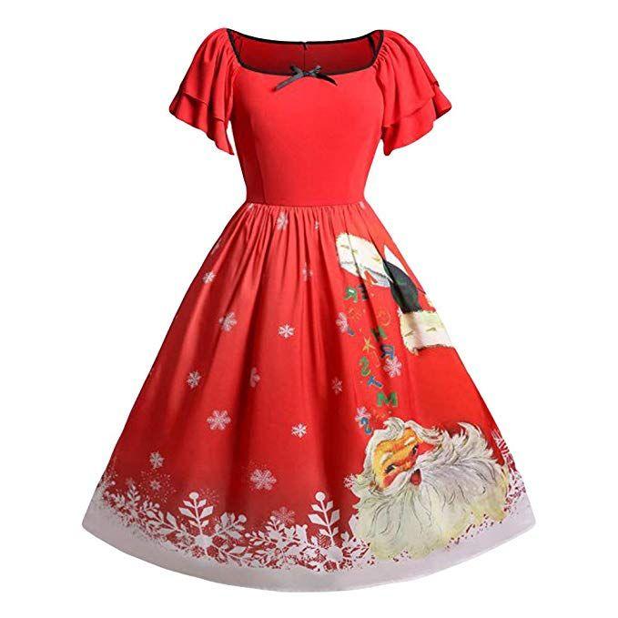 55e757b566a ZIYOU Weihnachtskleid Damen 50s Retro Vintage Festlich Kleider Elegante  Abendkleid Cocktailkleid Partykleider Frauen Faltenrock Rockabilly Kleid