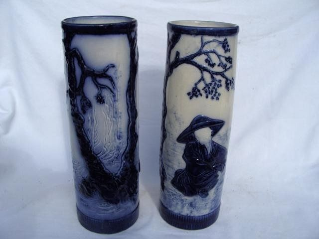 A pair of early flow blue vases probably 1880s