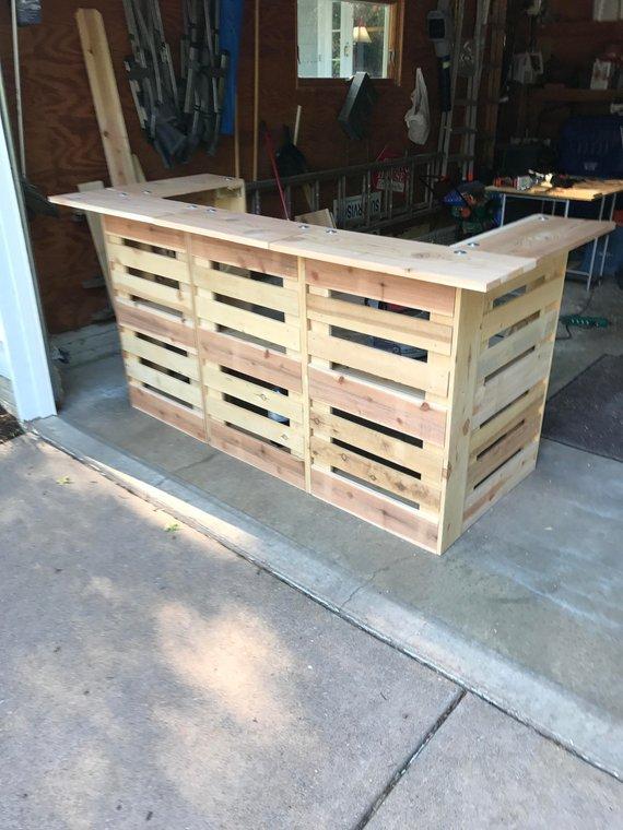 Rustic Wedding Decor Pallet Bar Cart Outdoor Cedar Furniture Portable Wine