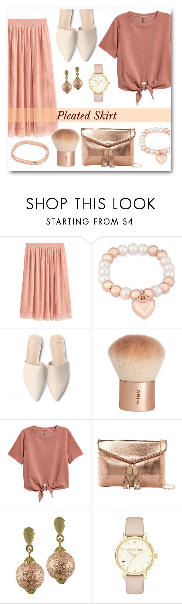 """Pleated Skirt"" by eternal-collection ❤ liked on Polyvore featuring H&M, Urban Expressions and Kate Spade"