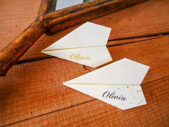Marque place Avion Origami, Porte nom, Mariage, Baptême Personnalisé