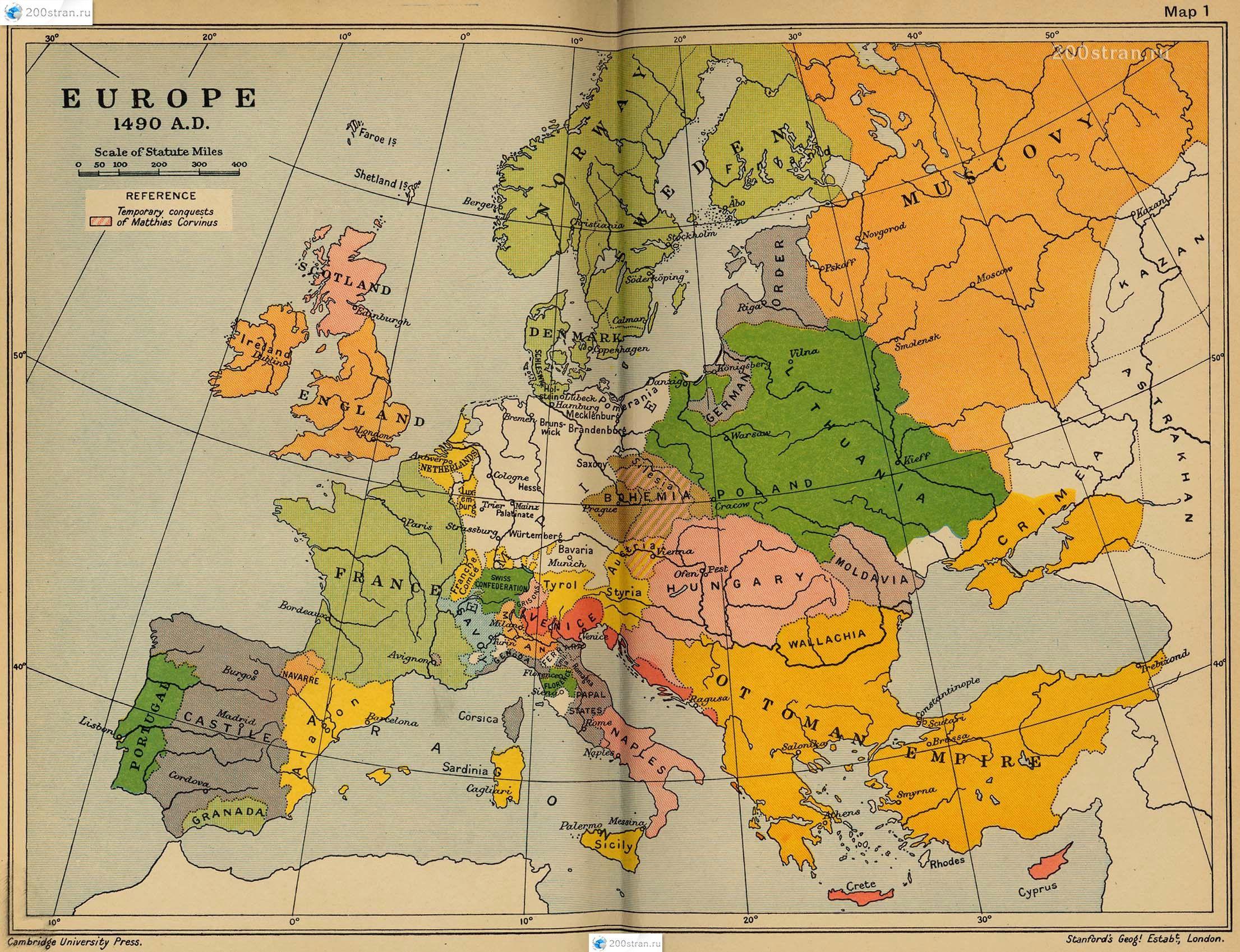 1490 Politicheskaya Karta Evropy Karta Evropa Istoriya