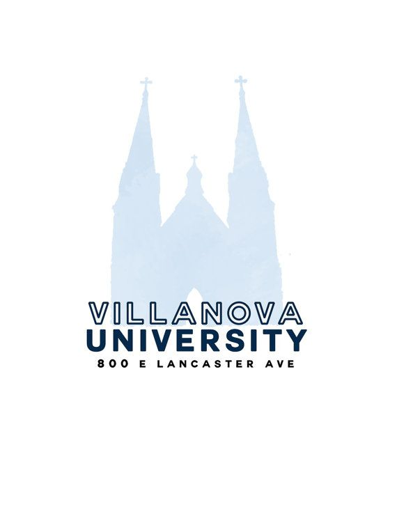 Villanova University Church Watercolor Silhouette Address Digital Download Villanova University Villanova Dream College