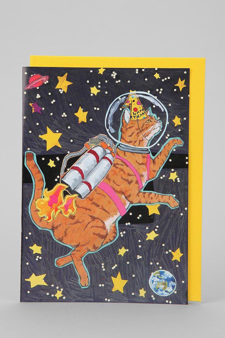space cat birthday card  space cat cat birthday card