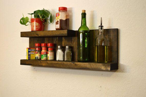 Modern 2 Tier Kitchen Shelf Wall E Rack Dark Walnut Rustic Wood